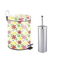 Designer Pattern Printed Step on Trash Bin (Spring Floral) with Toilet Brush (5L)