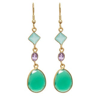 Handmade Goldplated Gemstone Earrings (India)