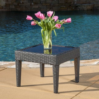 Outdoor Antibes Wicker Side Table by Christopher Knight Home