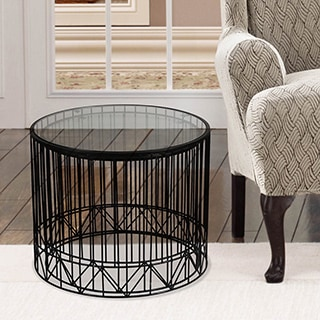 Adeco Home Garden Accent Black Metal Side Table (Set of 2)
