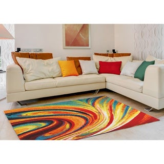Home Dynamix Splash Collection Contemporary Orange Swirl Area Rug  (7'10 x 10'2)