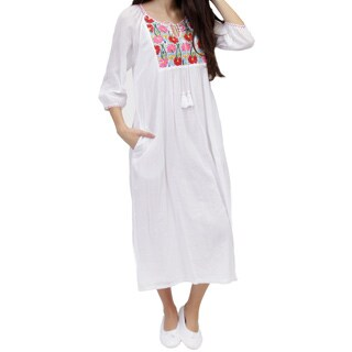 La Cera Women's Floral Embroidered Night Gown