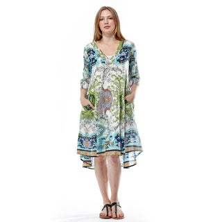 La Cera Women's 3/4 Sleeve Printed Dress