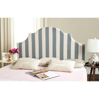Safavieh Hallmar Grey/ White Stripe Upholstered Arched Headboard (Queen)