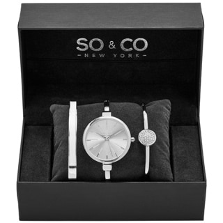 SO&CO New York Women's Madison Quartz Bangle Crystal Watch Set