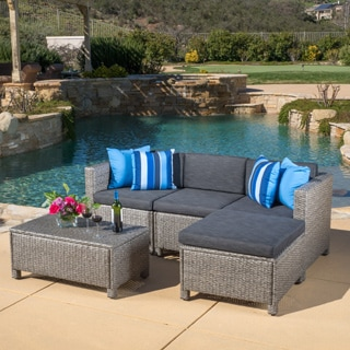 Christopher Knight Home Outdoor Puerta 5-piece Wicker L-shaped Sectional Sofa Set with Cushions