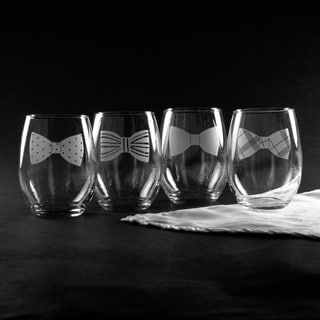 Bowties Stemless Wine Glass (Set of 4)