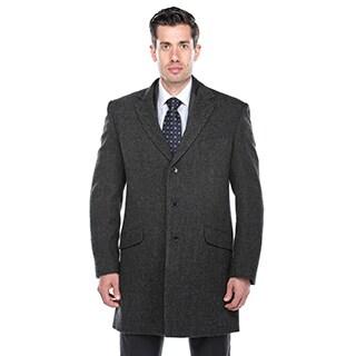 Verno Walt Men's Black and Grey Herringbone Wool Overcoat (3 options available)