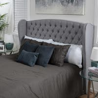 Alberta King/ California King Tufted Fabric Wingback Headboard by Christopher Knight Home