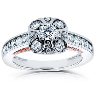 Annello by Kobelli 14k Two Tone Rose Gold Profile 3/4ct TDW Diamond Engagement Ring