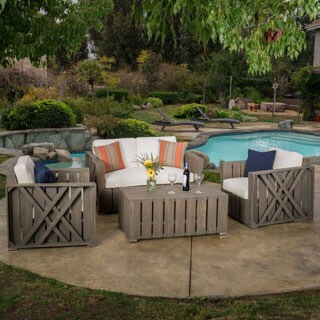 Exceptionnel Outdoor Cadence 4 Piece Acacia Wood Chat Set With Cushions By Christopher  Knight Home