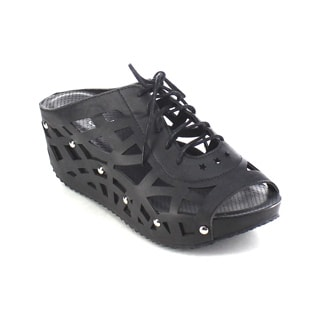 Beston AA98 Women's Slip-on Stud Platform Lace-up Wedge Sandals