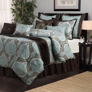 Nanshing Sofia Aqua/ Brown Medallion 8-piece Comforter Set