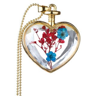 Alloy Gold Color Flower Glass Heart Locket Necklace