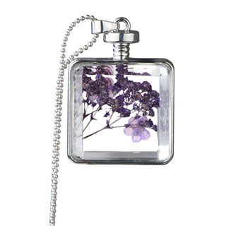 Alloy Silver Color Flower Glass Locket Necklace