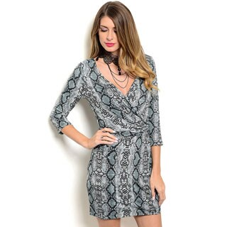 Shop the Trends Women's 3/4 Sleeve Short V-Neck Dress With Allover Snake Print