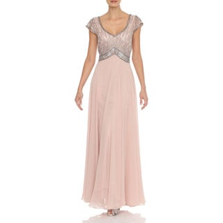 J Laxmi Women's Blush Beaded Mock Flair Dress