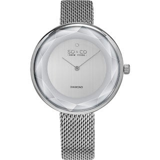 SO&CO New York Women's SoHo Quartz Stainless Steel Mesh Bracelet Diamond Watch