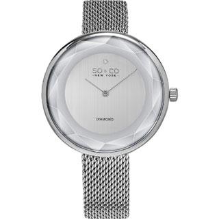 SO&CO New York Women's SoHo Quartz Stainless Steel Mesh Bracelet Diamond Mothers Day Gift Watch