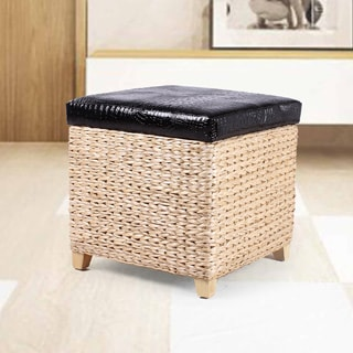 Adeco Faux Leather Lid Storage Ottoman with Bulrush Weave