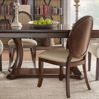 Verdiana Rich Brown Cherry Finish Oval Side Chair (Set of 2)