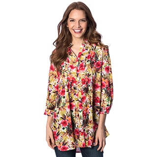 Women's Orchid Tropical Tuxedo Pleat 3/4 Sleeve Tunic