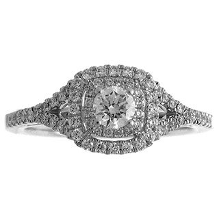 Azaro 14k White Gold 3/5ct TDW Diamond Double Halo Engagement Ring