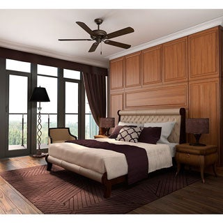 "Casablanca 60"" Ainsworth Ceiling Fan Provence Crackle w/5 Smoked Walnut/Expresso Reversible Veneer Blades"