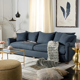 Safavieh Couture High Line Collection Fraiser Oak Navy Blue Sofa