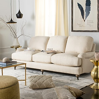 Safavieh Couture High Line Collection Calvin Oak Natural Linen Sofa
