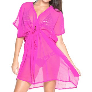 La Leela Beachwear Swimwear Sheer Chiffon Solid One Size Bikini Cover up Kaftan Crayola