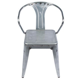 Silver Metal Industrial Distressed Arm Chair