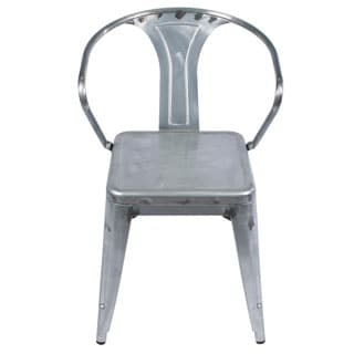 Silver Metal Tolix-style Industrial Distressed Arm Chair