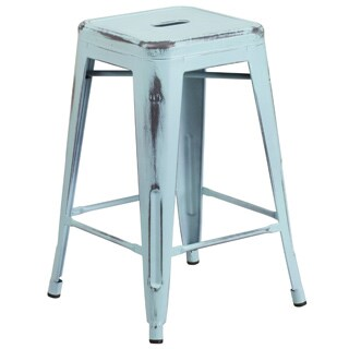 24inch high backless distressed metal indoor counter height stool