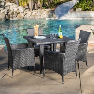 Outdoor Malta 5 Piece Wicker Dining Set With Cushions By Christopher Knight Home