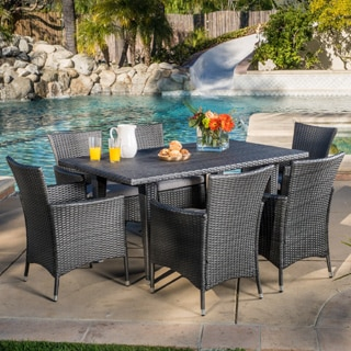 Outdoor Malta 7 Piece Pe Wicker Dining Set With Cushions By Christopher Knight Home Free Shipping Today 11194168