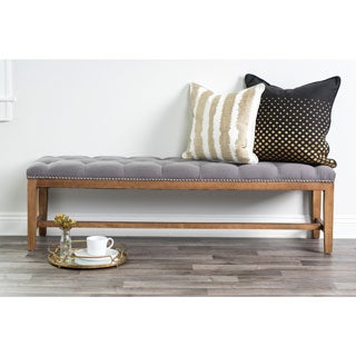 "Kosas Home Jay Tufted 60"" Grey Bench"