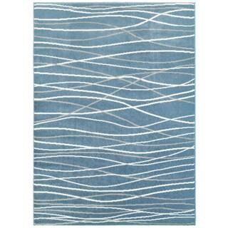 LNR Home Grace LR81125 Teal Wavy Lines Rug (7'6 x 9'6)