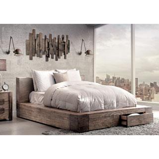 Furniture of America Shaylen II Rustic Natural Tone Low Profile Storage Bed