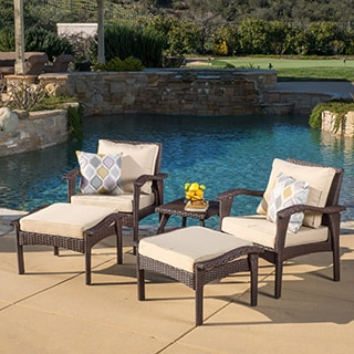 Christopher Knight Home Honolulu Outdoor 5-piece Wicker Seating Set with Cushions
