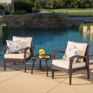 Honolulu Outdoor 3-piece Wicker Chat Set with Cushions by Christopher Knight Home