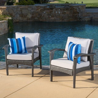 Honolulu Outdoor Wicker Club Chair with Cushion (Set of 2) by Christopher Knight Home