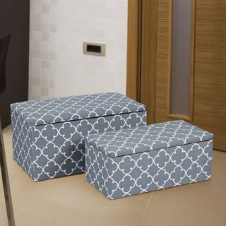 Adeco Quatrefoil Pattern Storage Ottoman Benches (Set of 2)