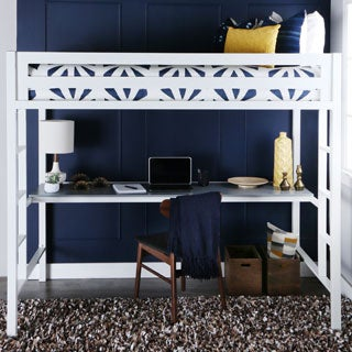 Twin Metal Loft Bed with Desk - White