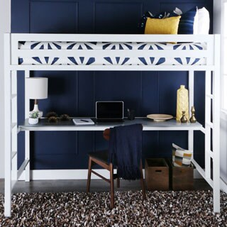 Twin White Metal Loft Bed with Desk