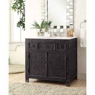 Somette Black 36 inch 2-Drawer Drop-In Vanity Sink
