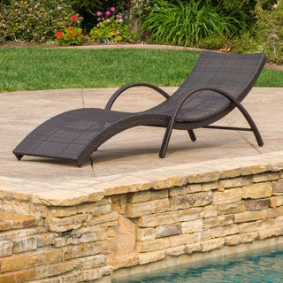 Christopher Knight Home Acapulco Outdoor Wicker Folding Armed Chaise Lounge