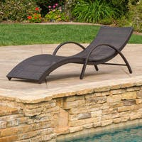 Acapulco Outdoor Wicker Folding Armed Chaise Lounge by Christopher Knight Home