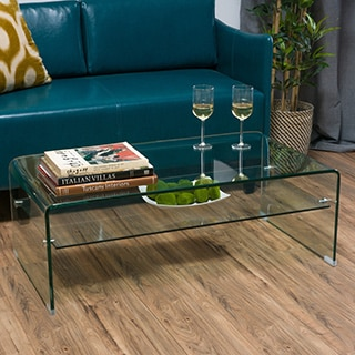 Christopher Knight Home Ramona Glass Rectangle Coffee Table with Shelf