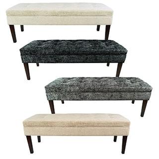 MJL Furniture Kaya Diamond Tufted Atlas Upholstered Long Bench
